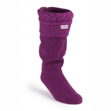 Hunter Moss Cable Cuff Welly Socks