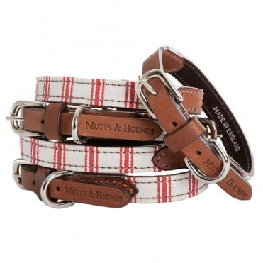 Mutts & Hounds Mutts & Hounds Cranberry Ticking Dog Collar
