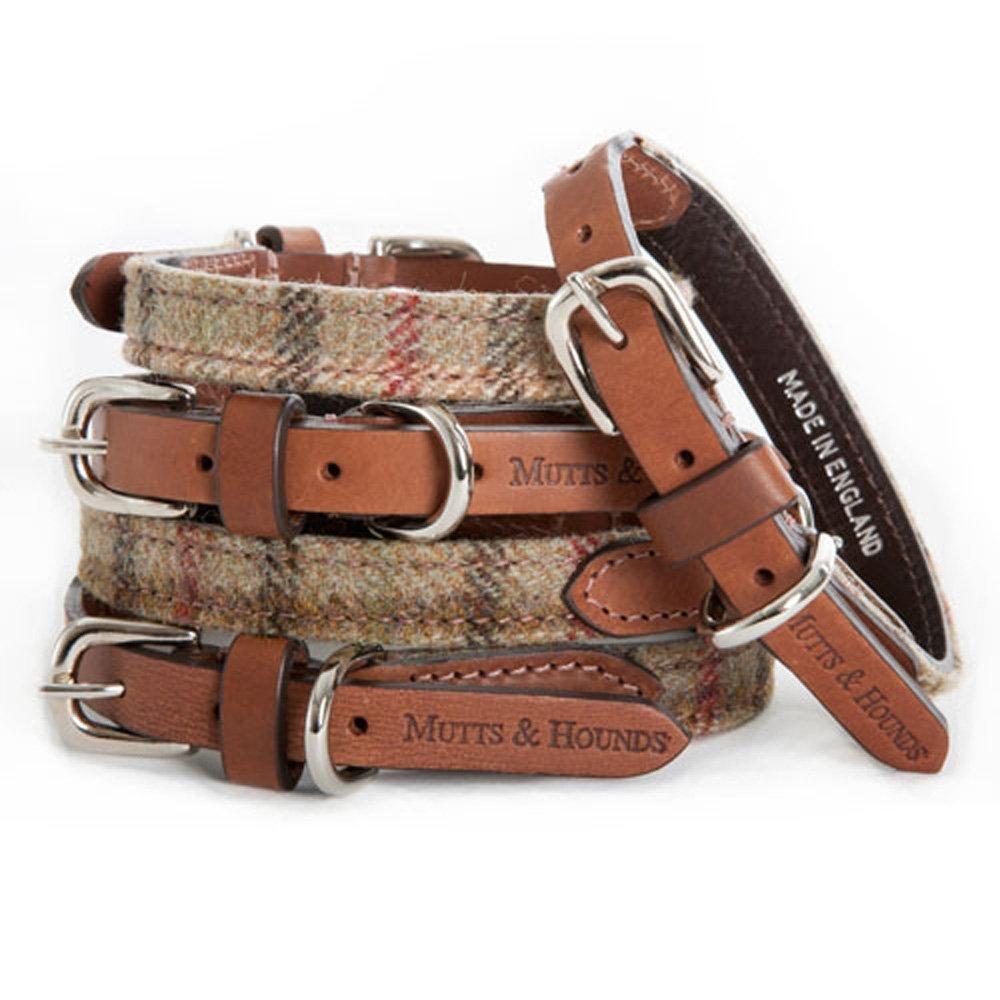 Mutts hounds balmoral tweed dog collar - Designer small dog collars ...
