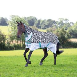 Shires Zeb Tek Fly Rug on a horse in a field