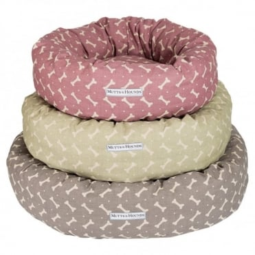Mutts & Hounds Bone Linen Donut Bed