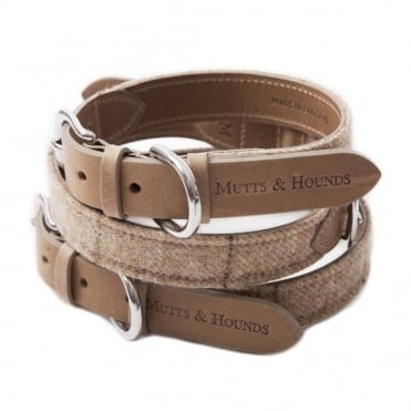 Mutts & Hounds Oatmeal Tweed Dog Collar