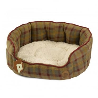 Petface Country Check Oval Dog Bed