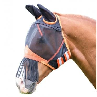 Shires Fine Mesh Fly Mask with Ears and Fringe