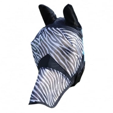 Shires Zebra Fine Mesh Fly Mask with Ears and Nose